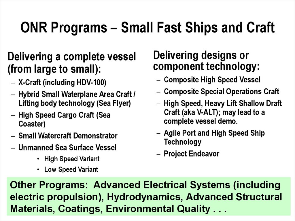 ONR Programs – Small Fast Ships and Craft