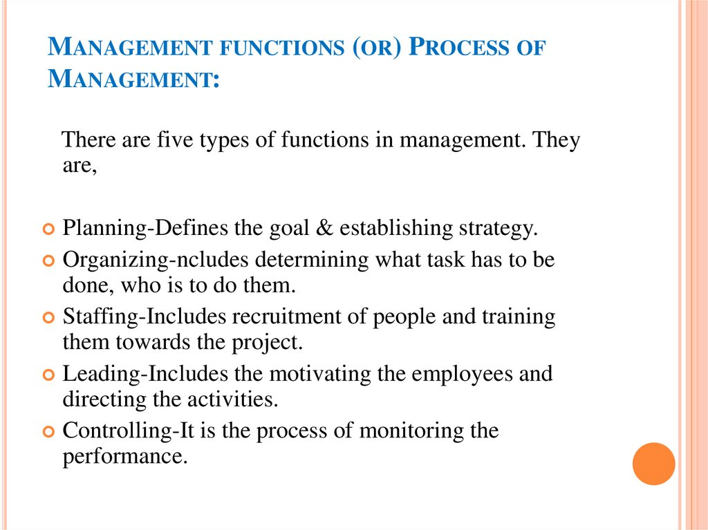 4 types of management functions