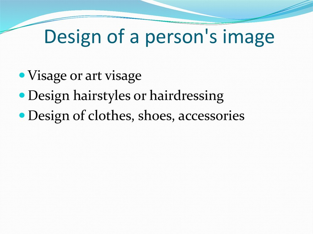 Design of a person's image