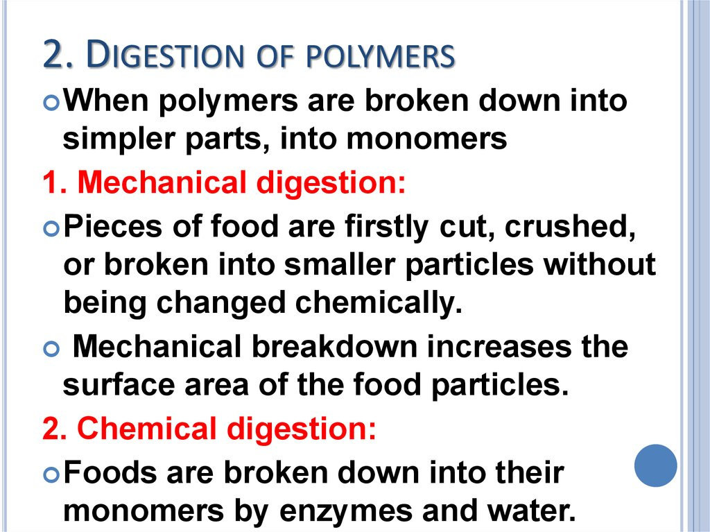 2. Digestion of polymers