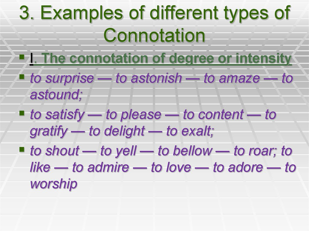 3. Examples of different types of Connotation