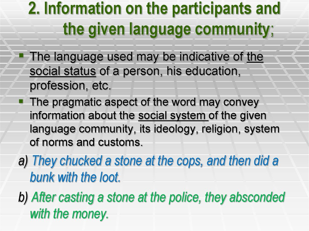 2. Information on the participants and the given language community;