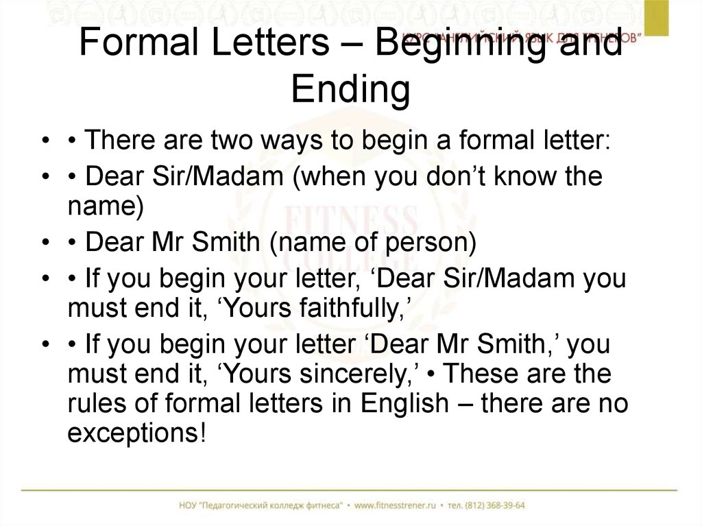 formal letters beginning and ending