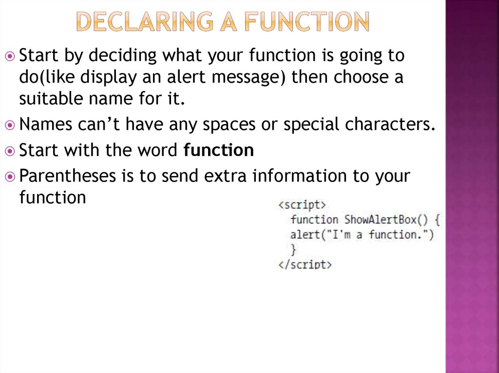 Declaring a function
