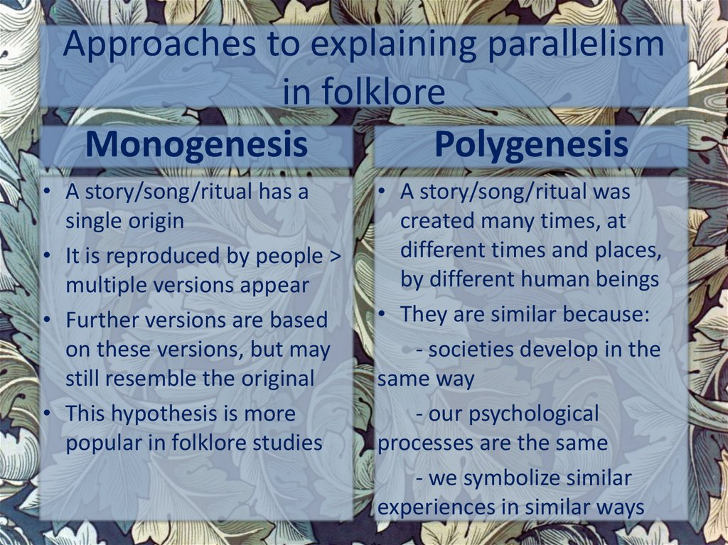 Approaches to explaining parallelism in folklore