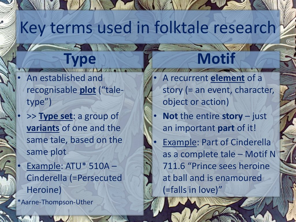 Key terms used in folktale research