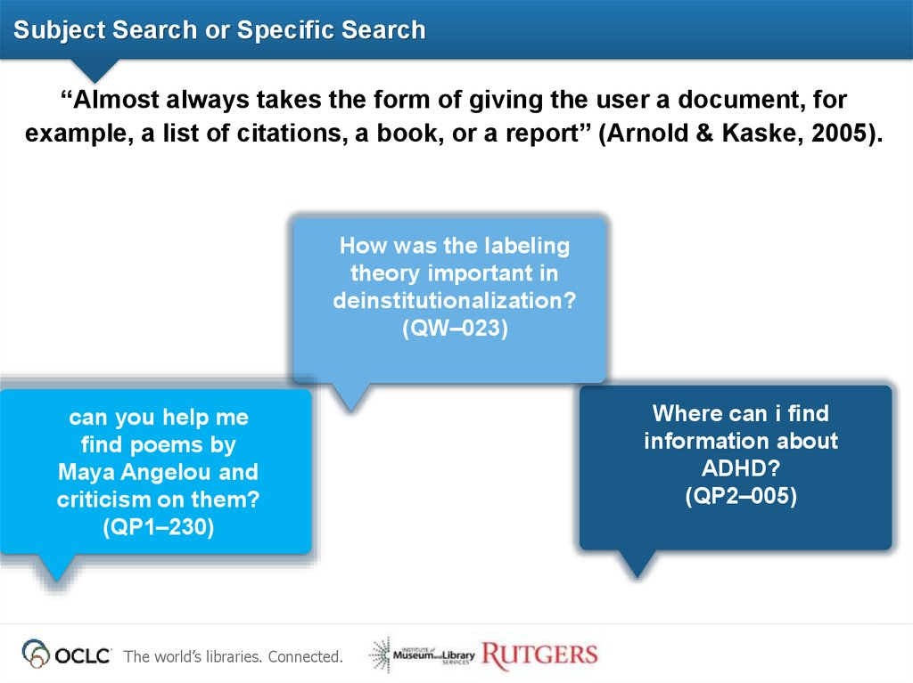Subject Search or Specific Search