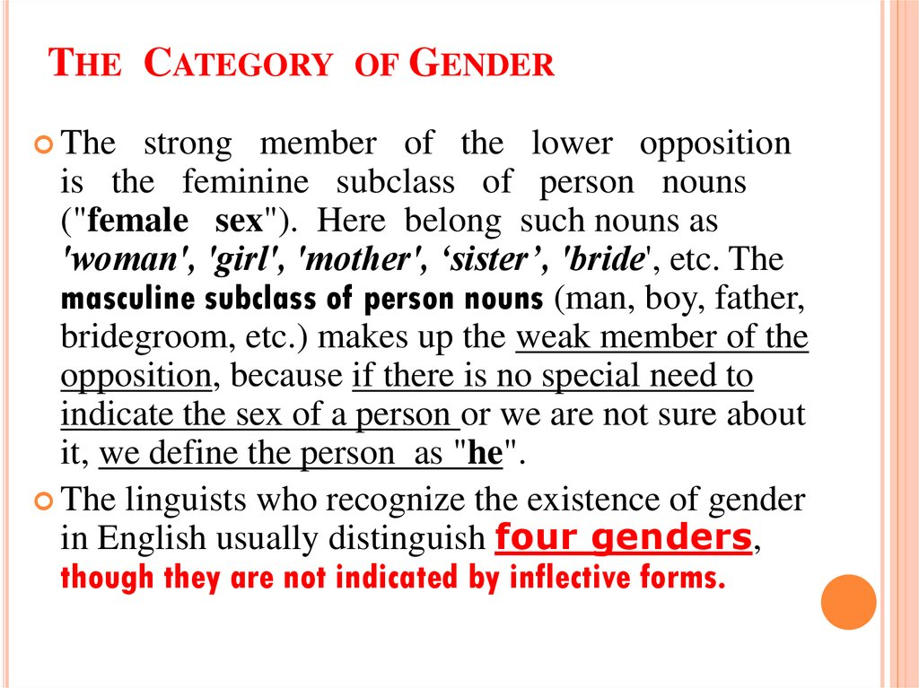 The Category of Gender