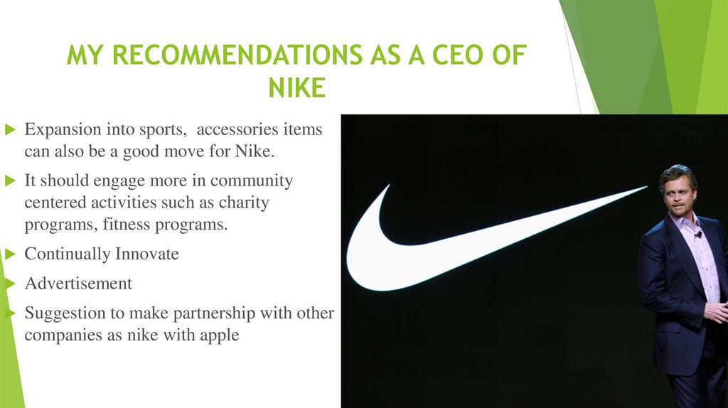 MY RECOMMENDATIONS AS A CEO OF NIKE