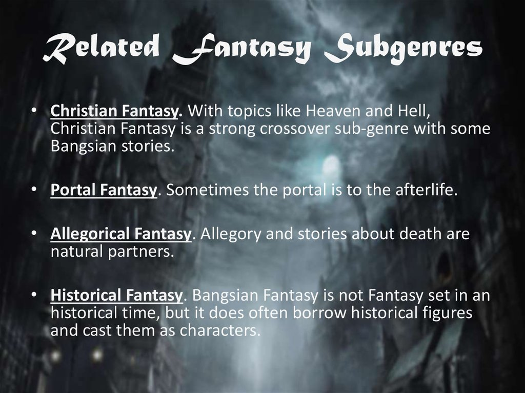 Related Fantasy Subgenres
