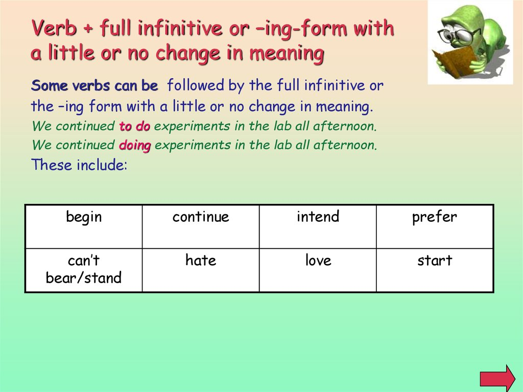 Verb + full infinitive or –ing-form with a little or no change in meaning