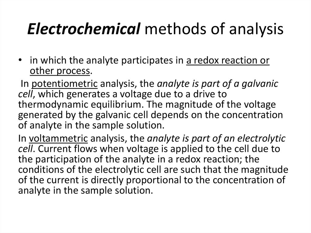 Electrochemical methods of analysis