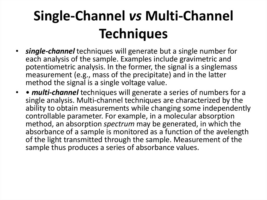 Single-Channel vs Multi-Channel Techniques