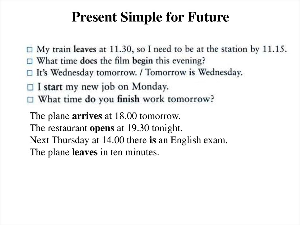 Present Simple for Future
