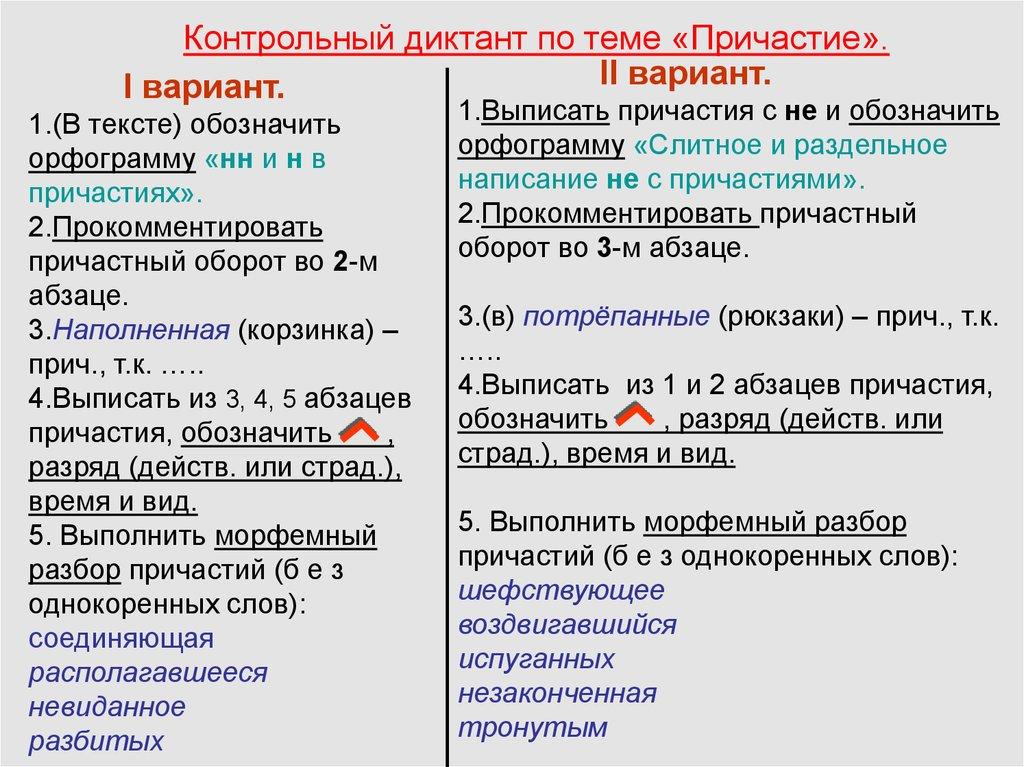 Задания к контрольному диктанту Причастие деепричастие предлог  Контрольный диктант по теме Причастие ii вариант i вариант 1 В тексте обозначить орфограмму нн и н в причастиях 2 Прокомментировать