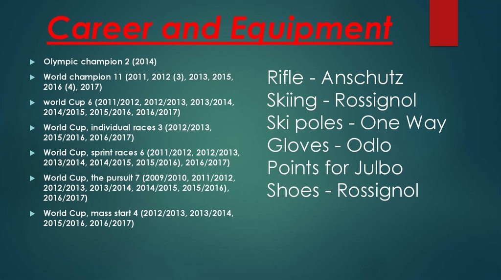 Career and Equipment