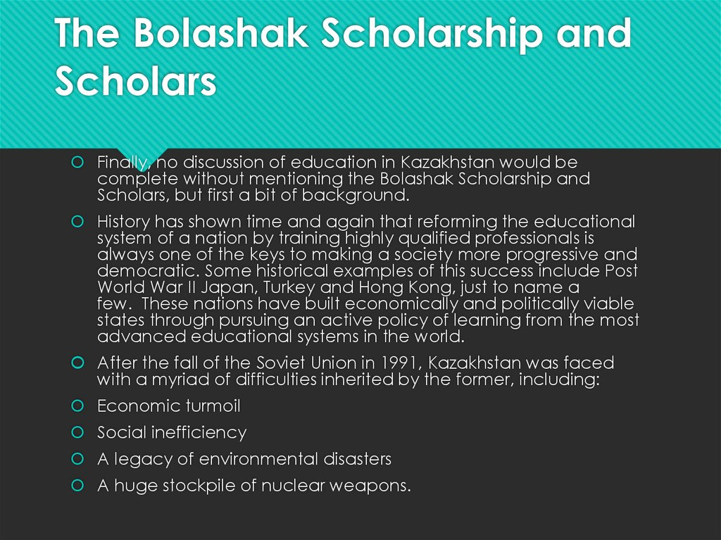 The Bolashak Scholarship and Scholars