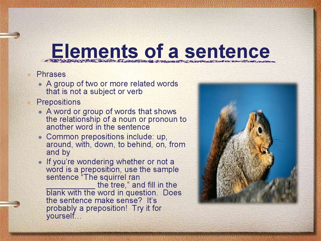 Elements of a sentence