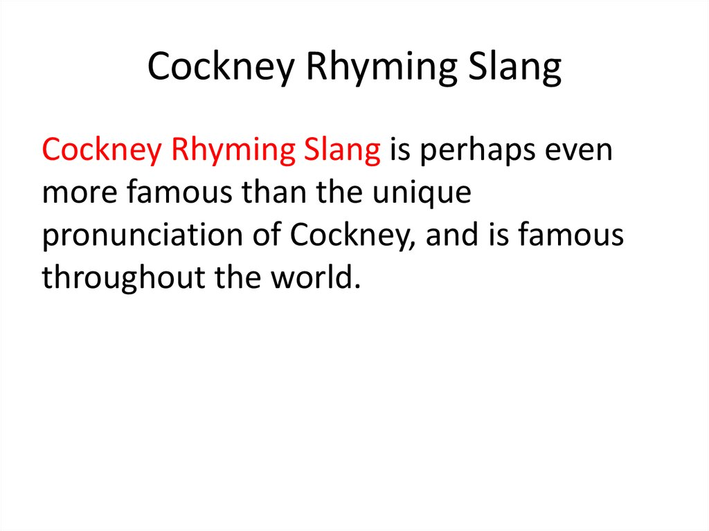 Cockney Rhyming Slang