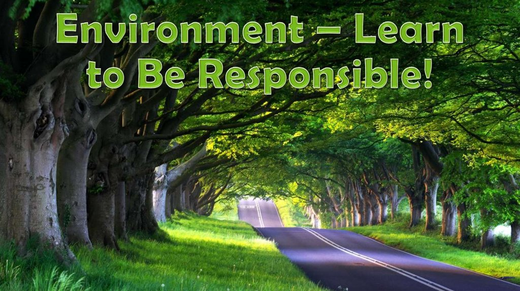Environment – Learn to Be Responsible!
