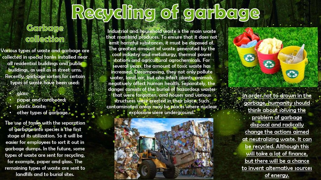 Recycling of garbage