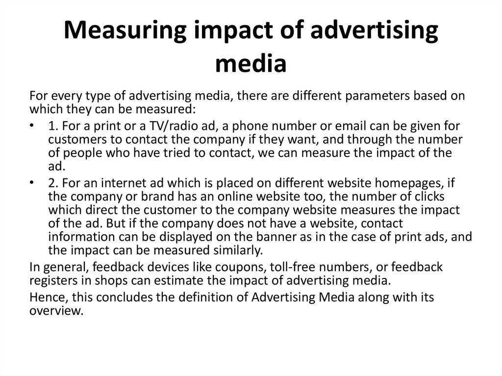 Measuring impact of advertising media