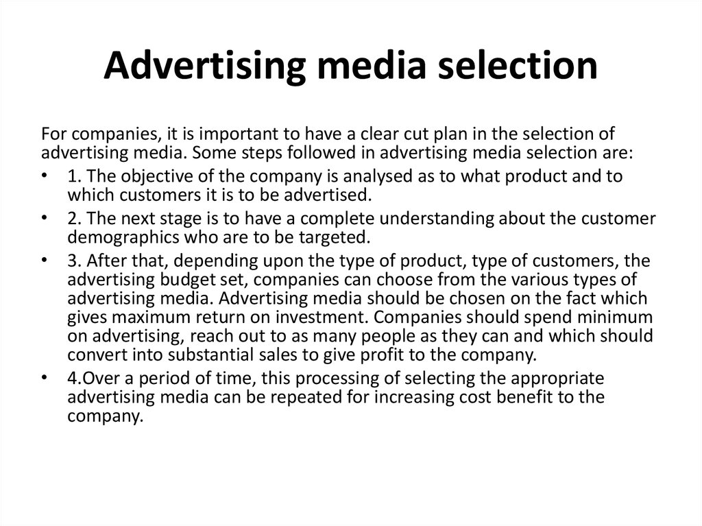 Advertising media selection