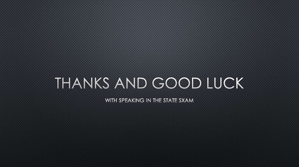 Thanks and good luck
