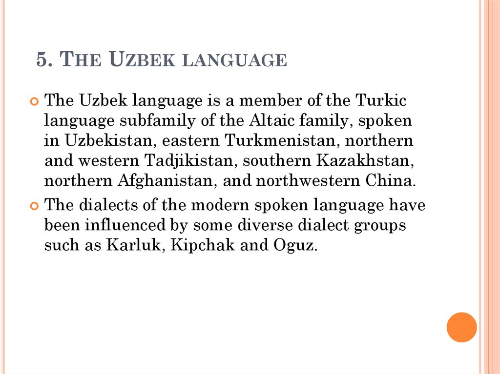 5. The Uzbek language