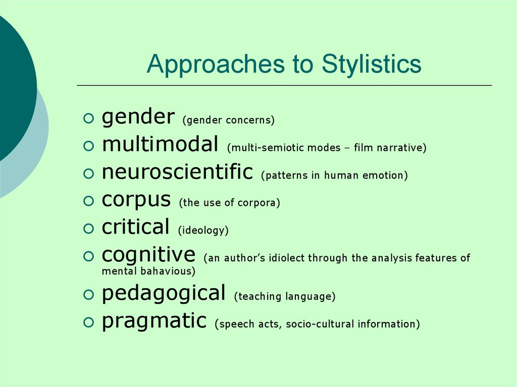 Approaches to Stylistics