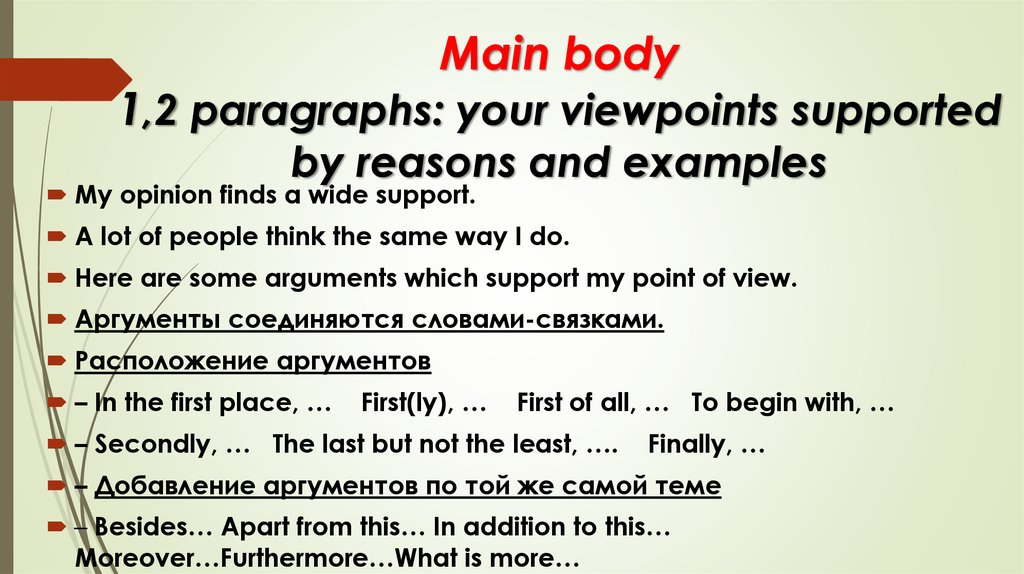 Main body 1,2 paragraphs: your viewpoints supported by reasons and examples