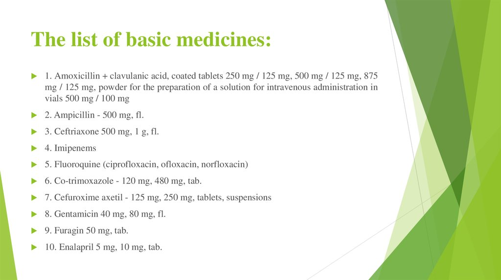 The list of basic medicines: