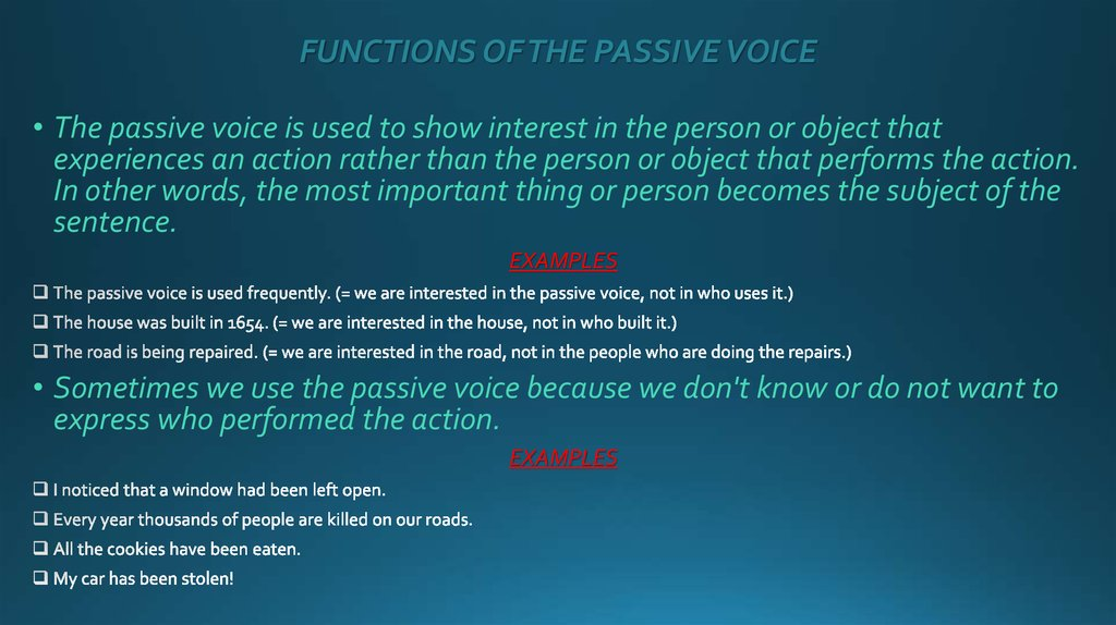 FUNCTIONS OF THE PASSIVE VOICE