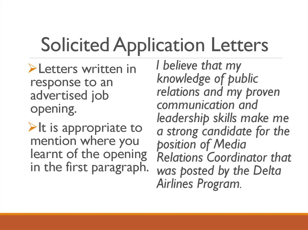 2 types of application letter solicited and unsolicited