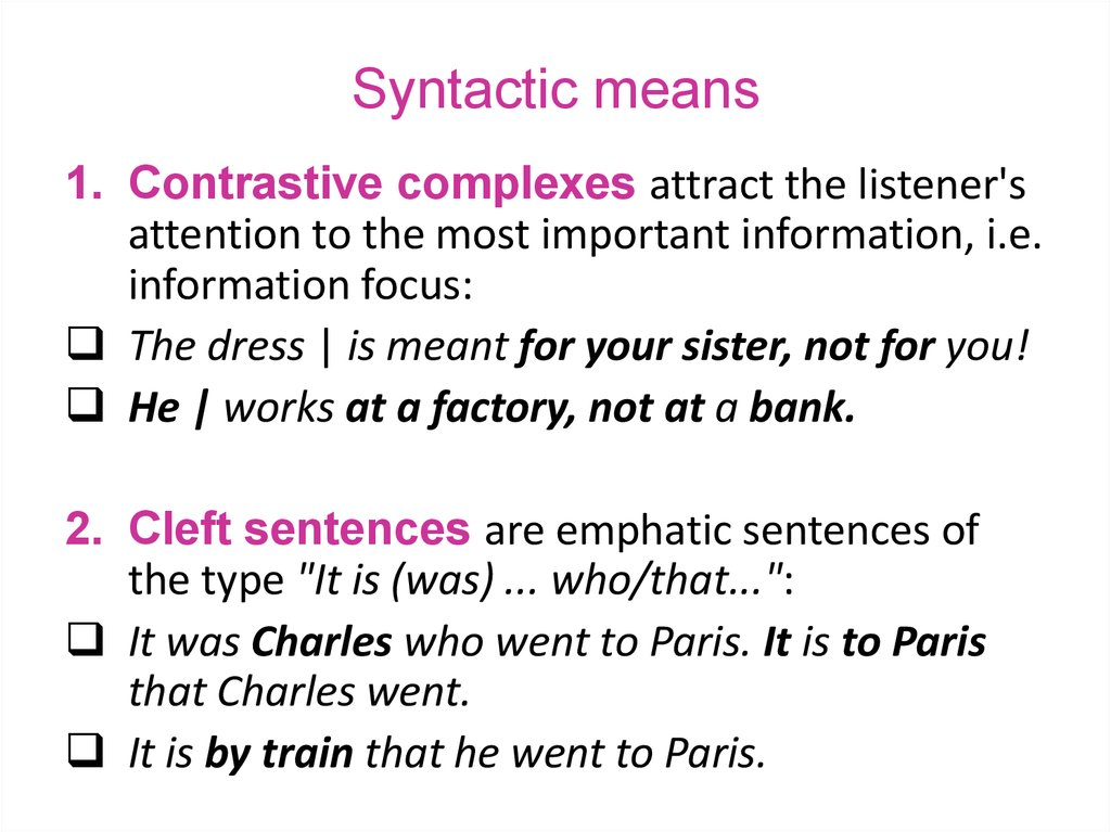 Syntactic means