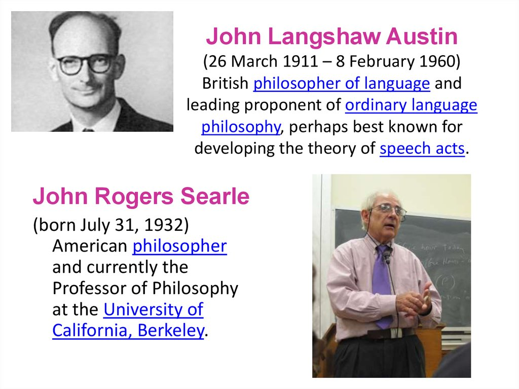 John Langshaw Austin (26 March 1911 – 8 February 1960) British philosopher of language and leading proponent of ordinary