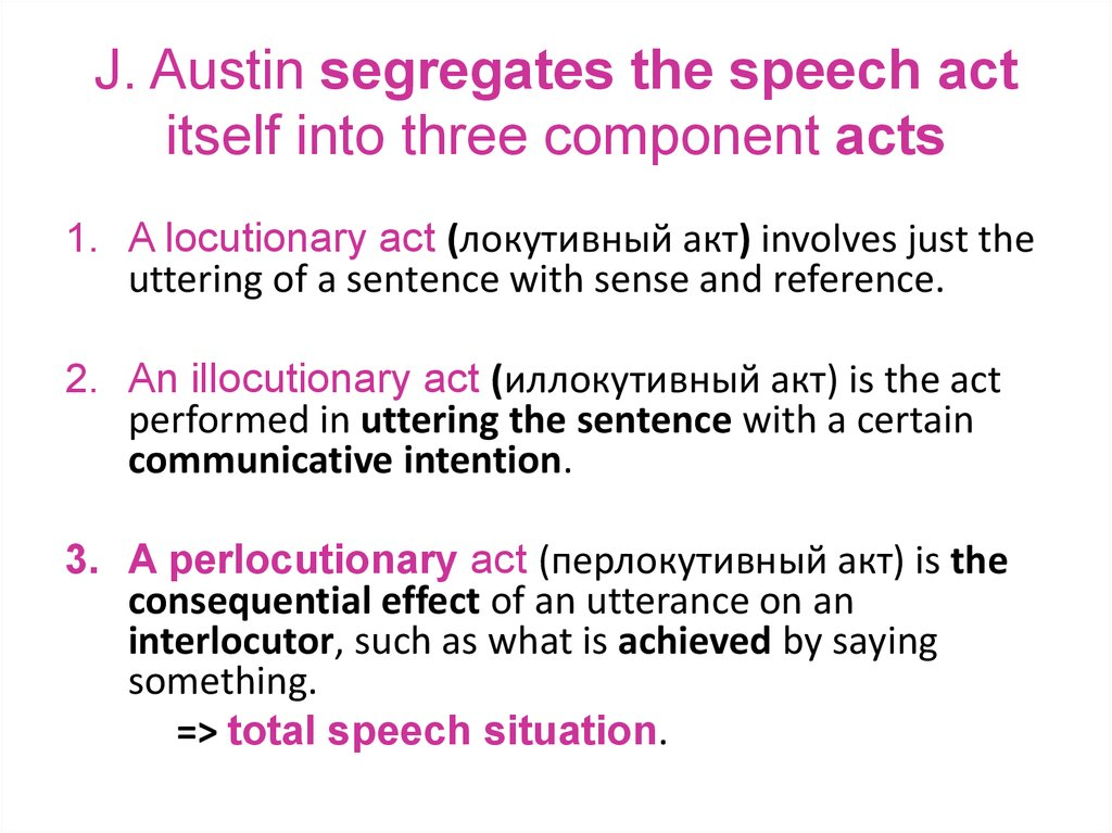 J. Austin segregates the speech act itself into three component acts