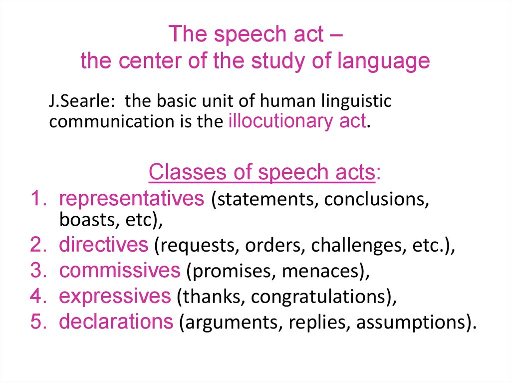 The speech act – the center of the study of language