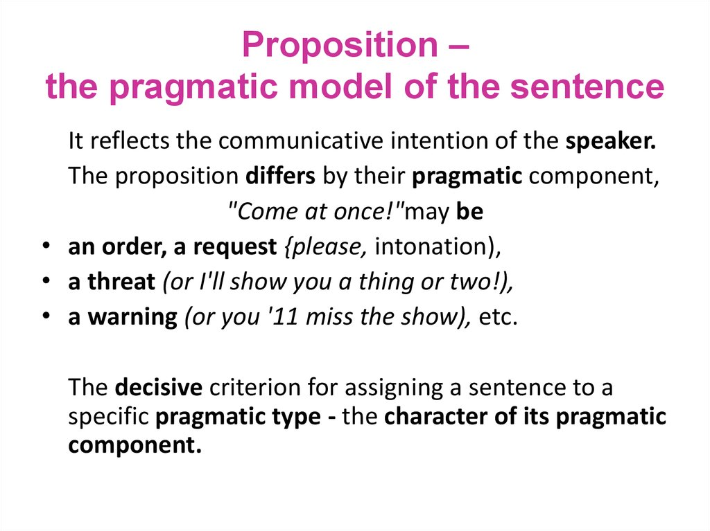 Proposition – the pragmatic model of the sentence