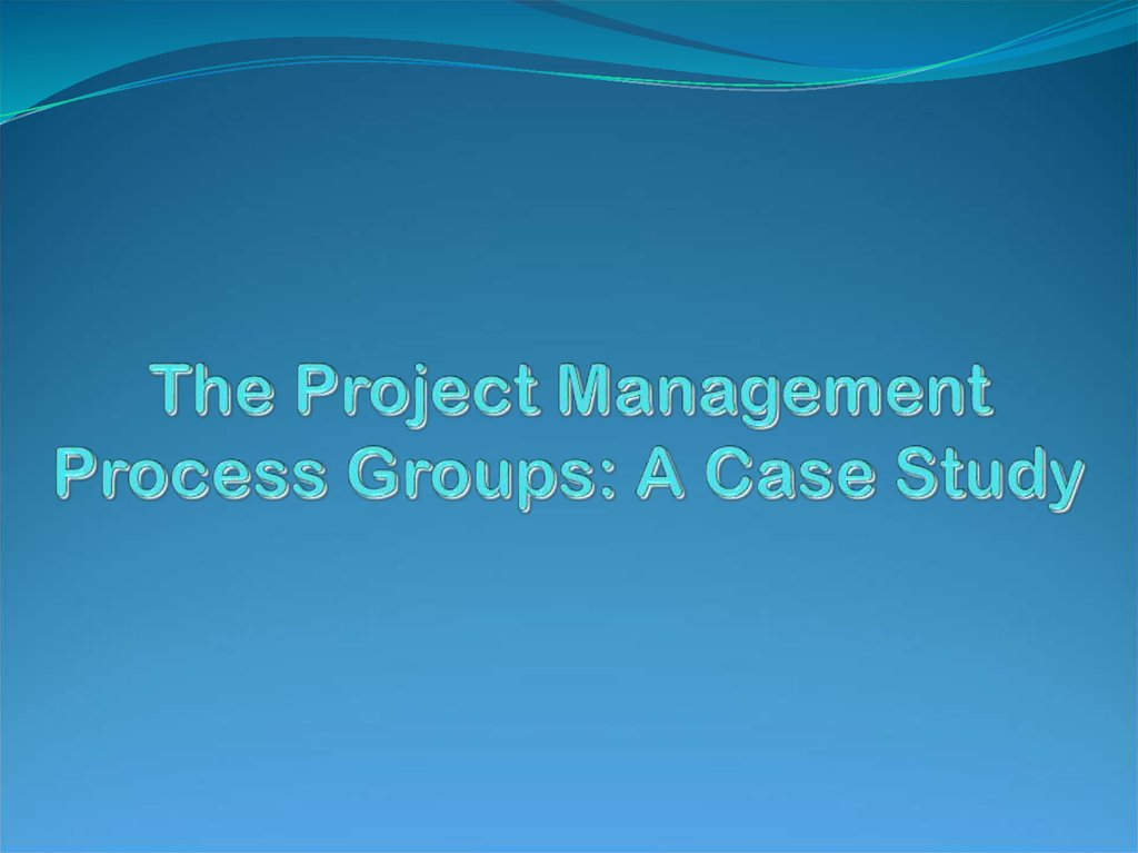 The Project Management Process Groups: A Case Study