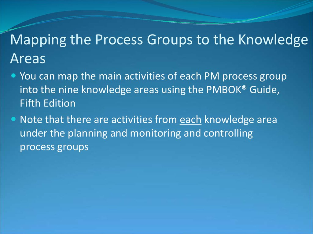 Mapping the Process Groups to the Knowledge Areas