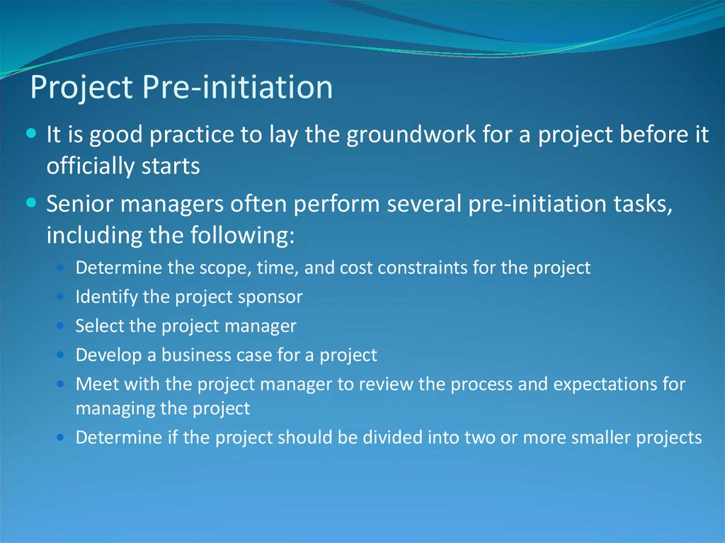 Project Pre-initiation