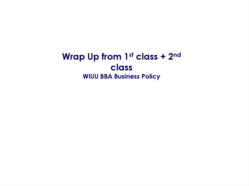 Wrap Up from 1st class + 2nd class WIUU BBA Business Policy
