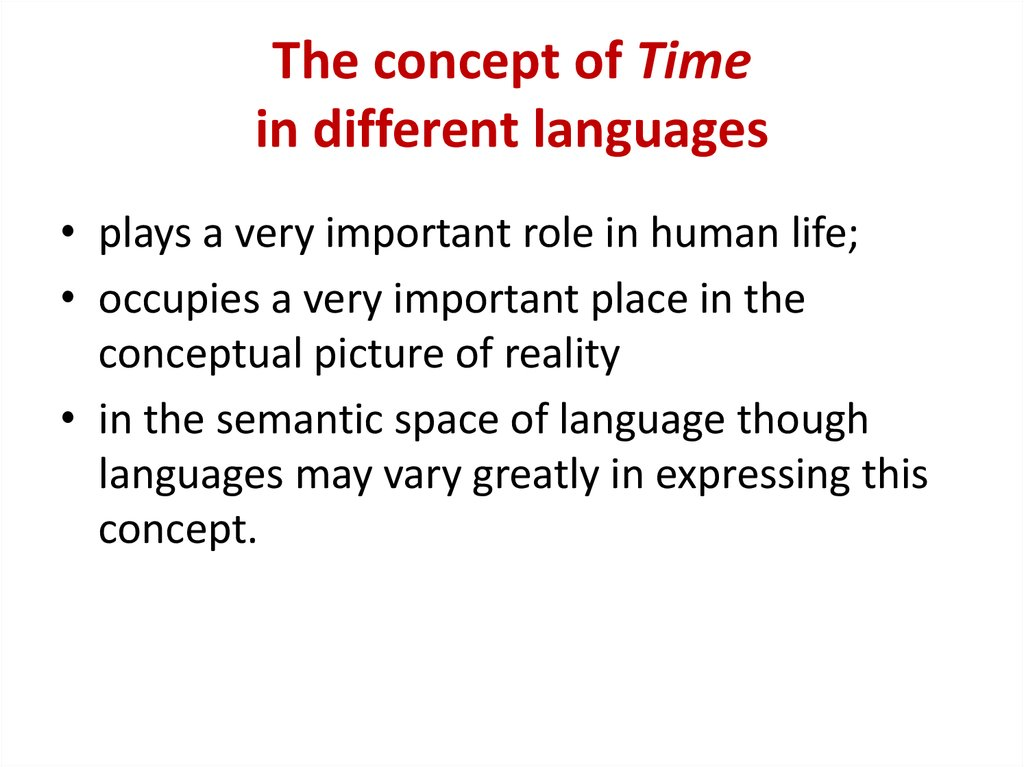 The concept of Time in different languages