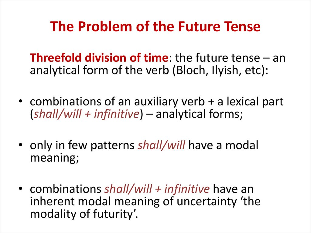 The Problem of the Future Tense