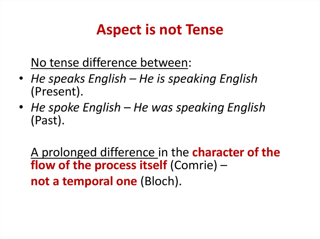Aspect is not Tense