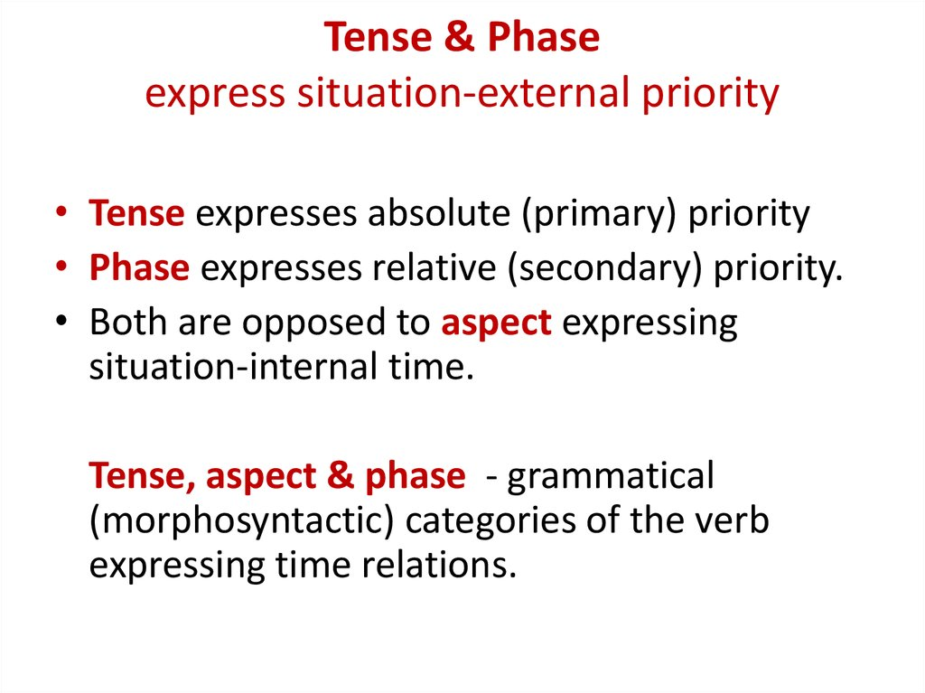 Tense & Phase express situation-external priority