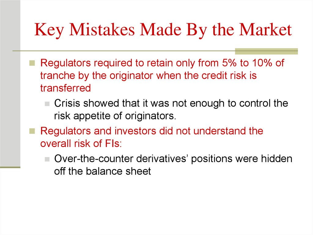 Key Mistakes Made By the Market