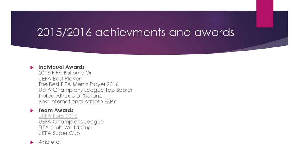 2015/2016 achievments and awards