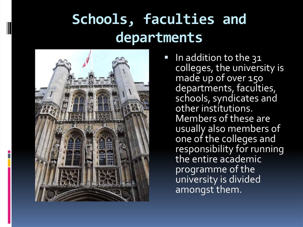 Schools, faculties and departments
